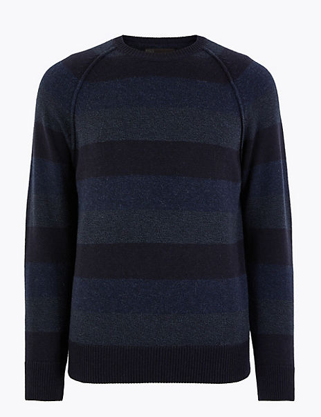 Striped Crew Neck Jumper with Wool and Alpaca
