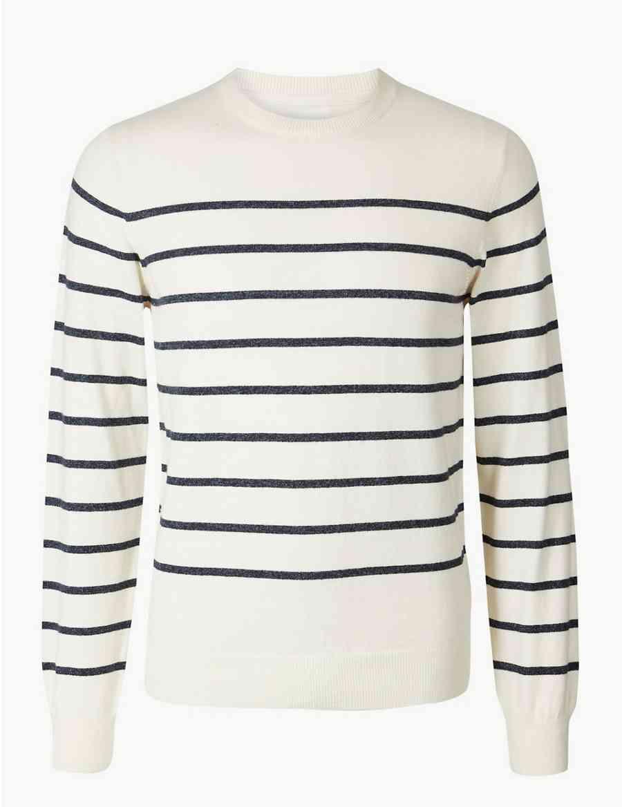 0480858c93d Cotton with Linen Breton Stripe Jumper