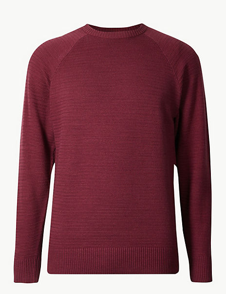 Cotton with Linen Textured Crew Neck Jumper