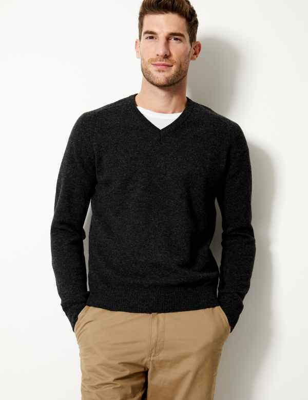 0686ea61988 Pure Extra Fine Lambswool V-Neck Jumper