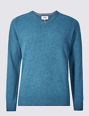 Pure Lambswool V-Neck Jumper, TEAL MIX, catlanding