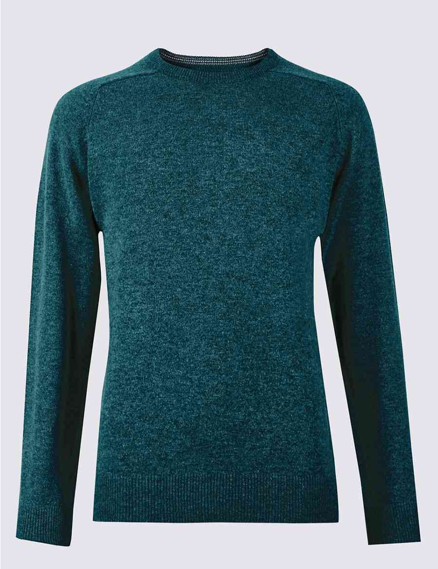 Pure Extra Fine Lambswool Crew Neck Jumper Ms Collection Ms