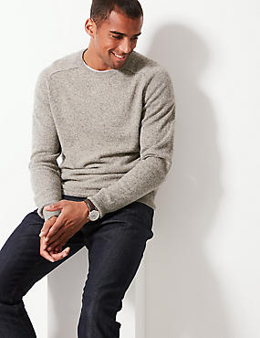 Pure Extra Fine Lambswool Crew Neck Jumper , PUTTY, catlanding