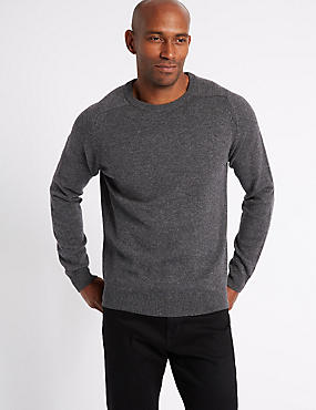 Pure Extra Fine Lambswool Crew Neck Jumper , DARK GREY MIX, catlanding