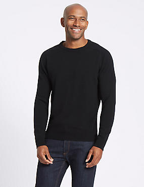 Pure Lambswool Crew Neck Jumper, BLACK, catlanding