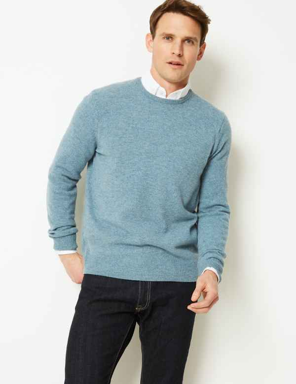 fed32b1341b229 Pure Extra Fine Lambswool Crew Neck Jumper