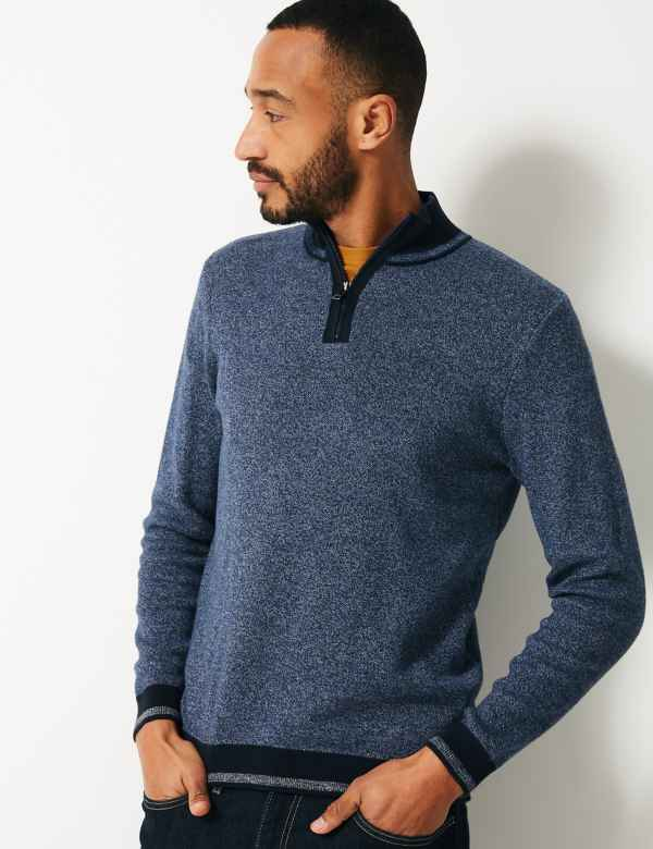 1ed2a33abe1 Pure Cotton Textured Half Zip Neck Jumper