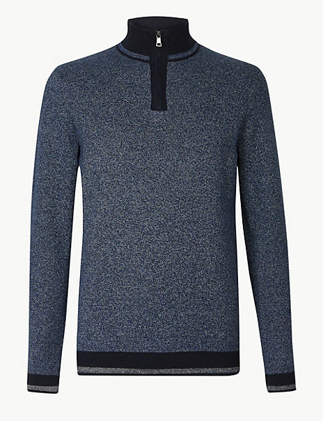 Pure Cotton Textured Half Zip Neck Jumper