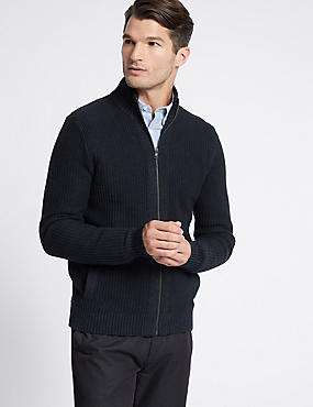 Pure Cotton Textured Zip Through Cardigan, NAVY, catlanding