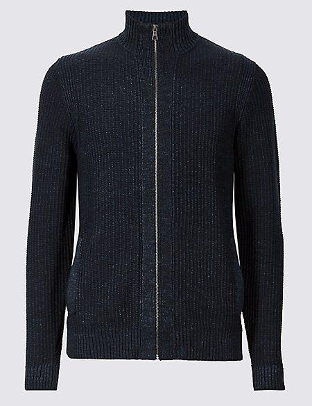 Pure Cotton Textured Zip Through Cardigan