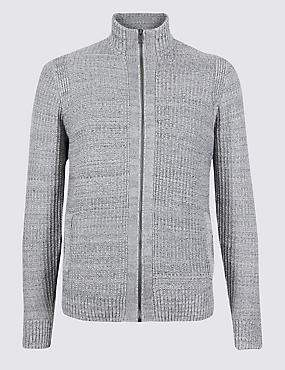 Pure Cotton Textured Zip Through Cardigan, NATURAL MIX, catlanding