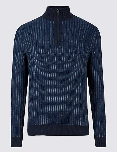 Pure Cotton Two Tone Half Zipped Jumper