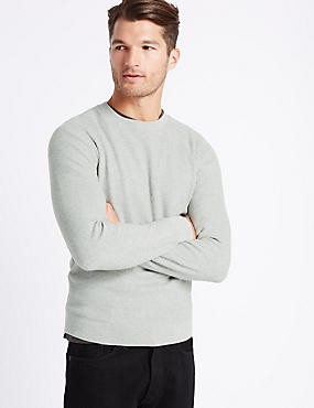 Pure Cotton Textured Crew Neck