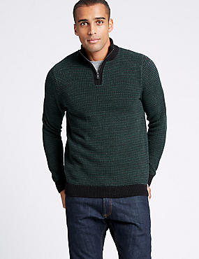 Pure Cotton Textured Half Zip Jumper , GREEN MIX, catlanding
