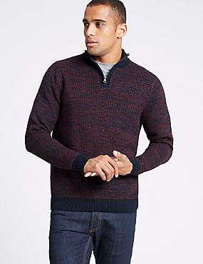 Pure Cotton Textured Half Zip Jumper