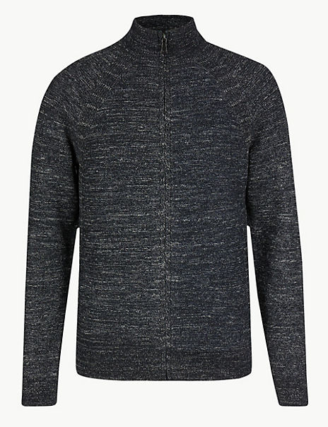 Textured Zip Through Cardigan