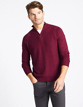 Pure Cotton Textured Half Zipped Jumper, DARK MAGENTA, catlanding
