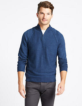 Pure Cotton Textured Half Zipped Jumper, BLUE, catlanding