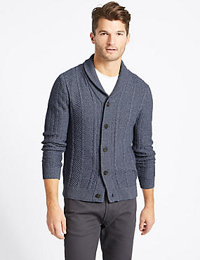 Cotton Rich Textured Cardigan, BLUE DENIM, catlanding