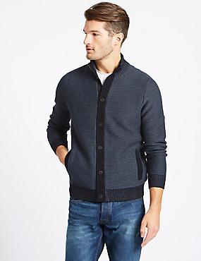 Pure Cotton Zip Through Cardigan, MID BLUE, catlanding