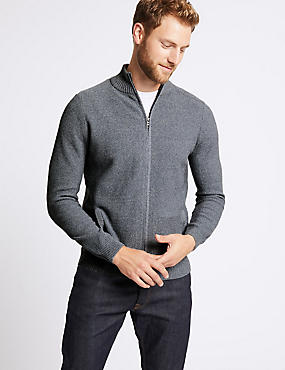 Cotton Rich Textured Zip Through Cardigan, LIGHT DENIM, catlanding