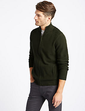 Cotton Rich Textured Zip Through Cardigan, KHAKI, catlanding