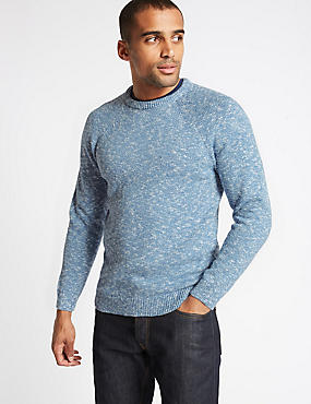 Pure Cotton Textured Crew Neck Jumper, LIGHT BLUE, catlanding
