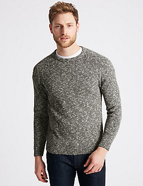 Pure Cotton Textured Crew Neck Jumper, KHAKI, catlanding