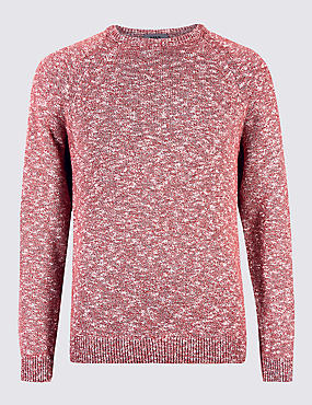 Pure Cotton Textured Crew Neck Jumper, ROSE, catlanding
