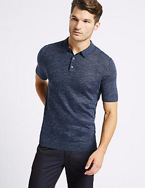 Textured Knitted Polo with Linen, NAVY, catlanding