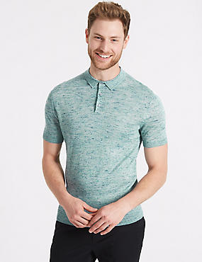 Textured Knitted Polo with Linen, AQUA, catlanding
