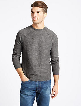 Pure Cotton Slub Crew Neck Jumper, MID GREY, catlanding