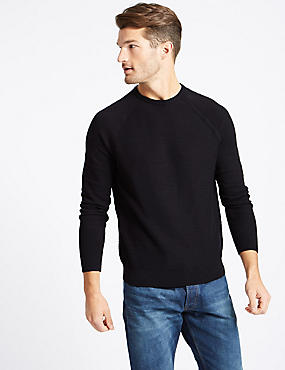 Pure Cotton Slub Crew Neck Jumper, NAVY, catlanding