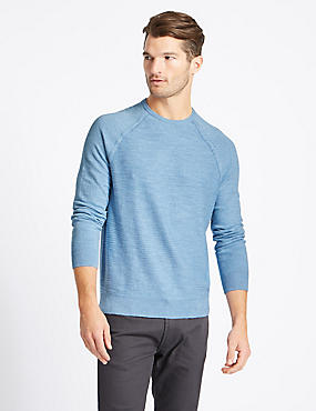 Pure Cotton Slub Crew Neck Jumper, ICE BLUE, catlanding