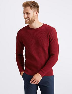 Pure Cotton Textured Jumper, RED, catlanding