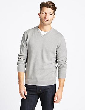 Pure Cotton V-Neck Jumper, SILVER MIX, catlanding
