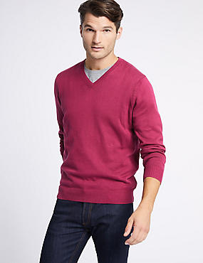 Pure Cotton V-Neck Jumper, MAGENTA, catlanding
