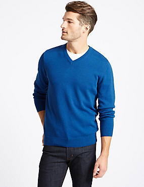 Pure Cotton V-Neck Jumper, BRIGHT BLUE, catlanding