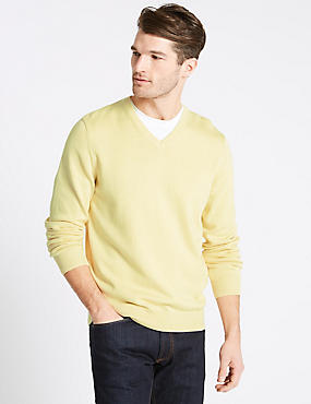 Pure Cotton V-Neck Jumper, SOFT YELLOW, catlanding
