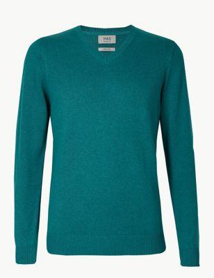 57dee8afe8da6e Pure Cotton V-Neck Jumper £19.50