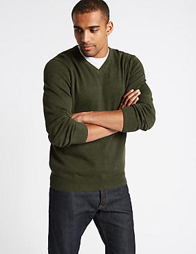 Pure Cotton V-Neck Jumper, DARK GREEN MIX, catlanding