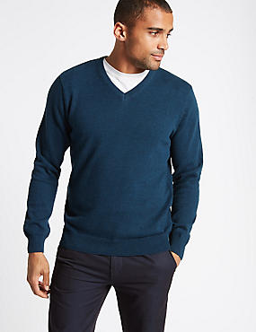 Pure Cotton V-Neck Jumper, MARINE, catlanding
