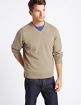 Pure Cotton V-Neck Jumper, NATURAL MIX, catlanding