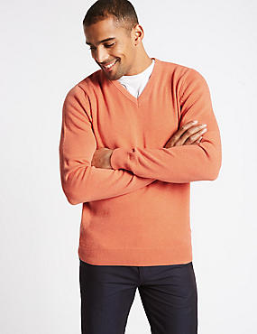 Pure Cotton V-Neck Jumper, SOFT ORANGE, catlanding