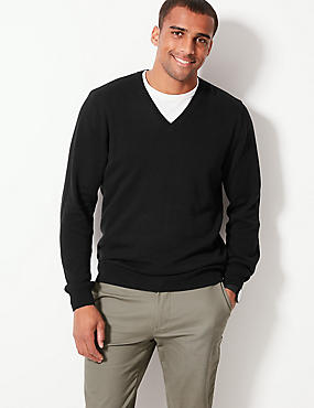 Pure Cotton V-Neck Jumper, BLACK, catlanding