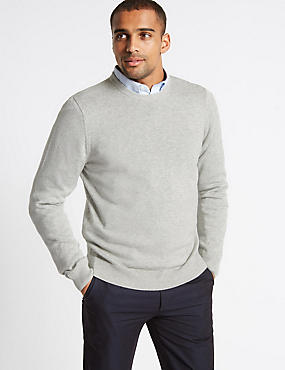 Pure Cotton Crew Neck Jumper, SILVER MIX, catlanding