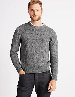 Pure Cotton Crew Neck Jumper, MID GREY, catlanding