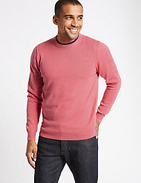 Pure Cotton Crew Neck Jumper, , catlanding