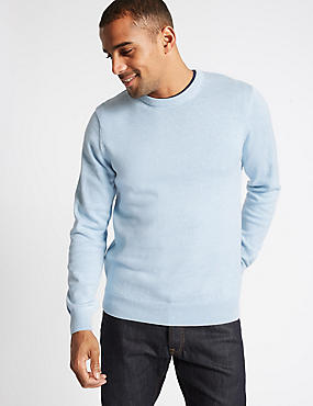 Pure Cotton Crew Neck Jumper, LIGHT BLUE, catlanding