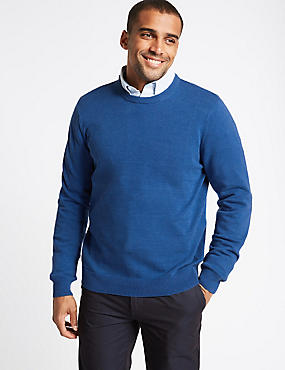 Pure Cotton Crew Neck Jumper, BRIGHT BLUE, catlanding